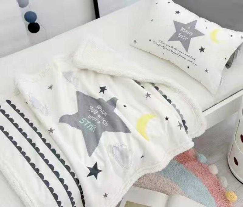 filt för baby sängkläder vinter moln mönster baby filtar nyfödda sover couverture polaire barn pojke flicka rum stjärna kudde