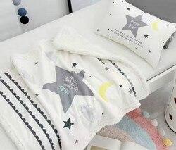 Cobertor para a cama do bebê inverno nuvem padrão do bebê cobertores recém-nascidos dorme couverture polaire crianças menino menina quarto estrela travesseiro