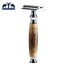 Double Edged Safety Razor with Long Natural Bamboo Handle Experience A Better Shave Grandslam Friendly Male Grooming 10 Blades