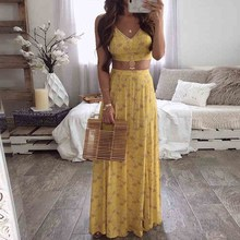 Women Sleeveless Summer 2 Piece Set Sexy V Neck Cami Top Long Skirt Sets Floral Print Suits Female Casual Outfits floral print random box pleat cami top