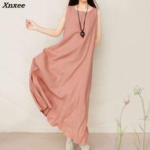 Casual Retro Brief Solid Color Boho Gowns 2018 Women Elegant Loose Sleeveless O Neck Dress Cotton Linen Long Xnxee