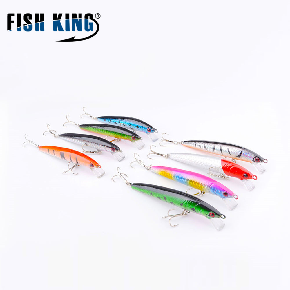 FISH KING Fishing Lures 1 PCS 90MM/8G Minnow Wobblers Fishing Lure Hard Artificial Bait 8 Colors