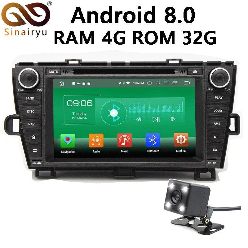 Sinairyu 4G RAM Android 8.0 Car DVD For Toyota Prius 2009 2010 2011 2012 2013 Octa Core 32G ROM Radio GPS Player Head Unit цена
