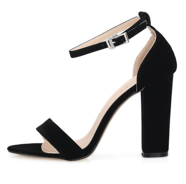 ZriEy ankle strap pumps summer shoes woman large size 35-42 chunky high heels women sandals candy colors bride party PL17864