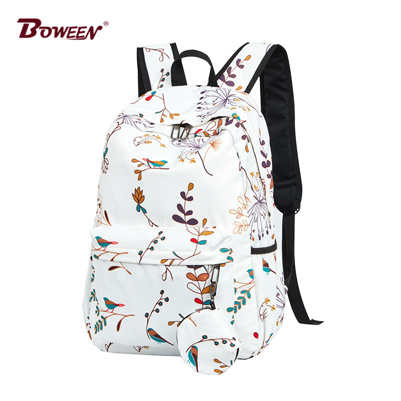 Printing Backpack Girls Floral Backpack Women School Bags For Teenage College Student Back Pack Female Nylon Casual Backbag 2019