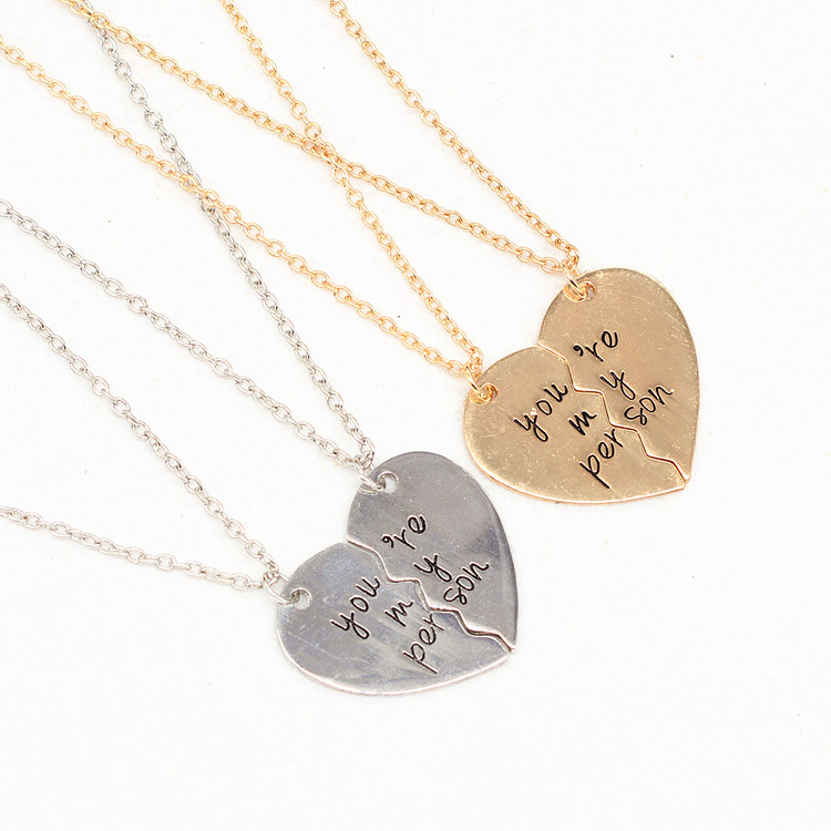 2 piece you are my person broken heart pendant necklace antique 2 piece you are my person broken heart pendant necklace antique letter engraved lover couples necklace gift in pendant necklaces from jewelry accessories mozeypictures Image collections