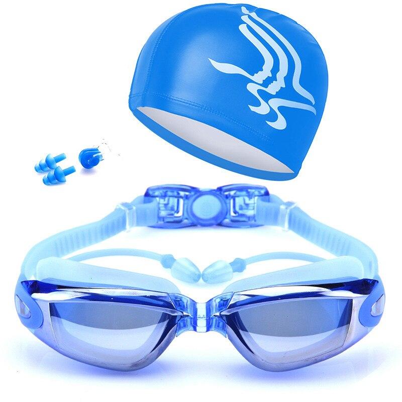 Новые очки для плавания для взрослых комплект покрытием противотуманные линзы Плавание очки + Кепки + чехол + зажим для носа + ушки Вилки