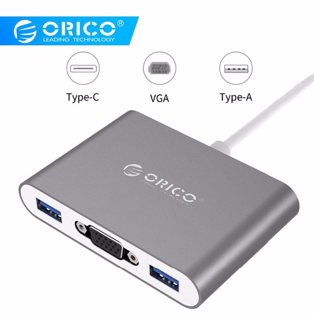 ORICO Aluminium MOYEU avec Type-c vers VGA/Type-c/Type-Un Convertisseur USB3.1 Gen1 5gbps avec 3 USB3.0 Ports pour Mac/Windows/Linux