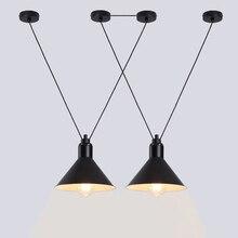 Black White Red Industrial Pendant Lamp Wrought Iron Sconces Adjustable Length Creative DIY LED Pendant Hanging Light