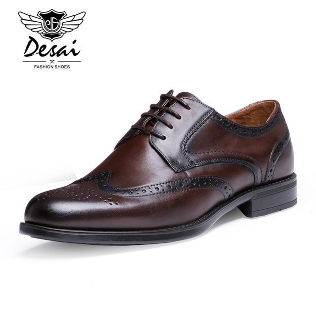 zapatillas de deporte para baratas a6c9d ab545 € 85.88 |DESAI Con Cordones Hombres de Brown Zapatos de Vestir 25 27 CM  Cuero Genuino DS201605 62 Elegante Hombre de los Zapatos de Goma Suave Boda  de ...