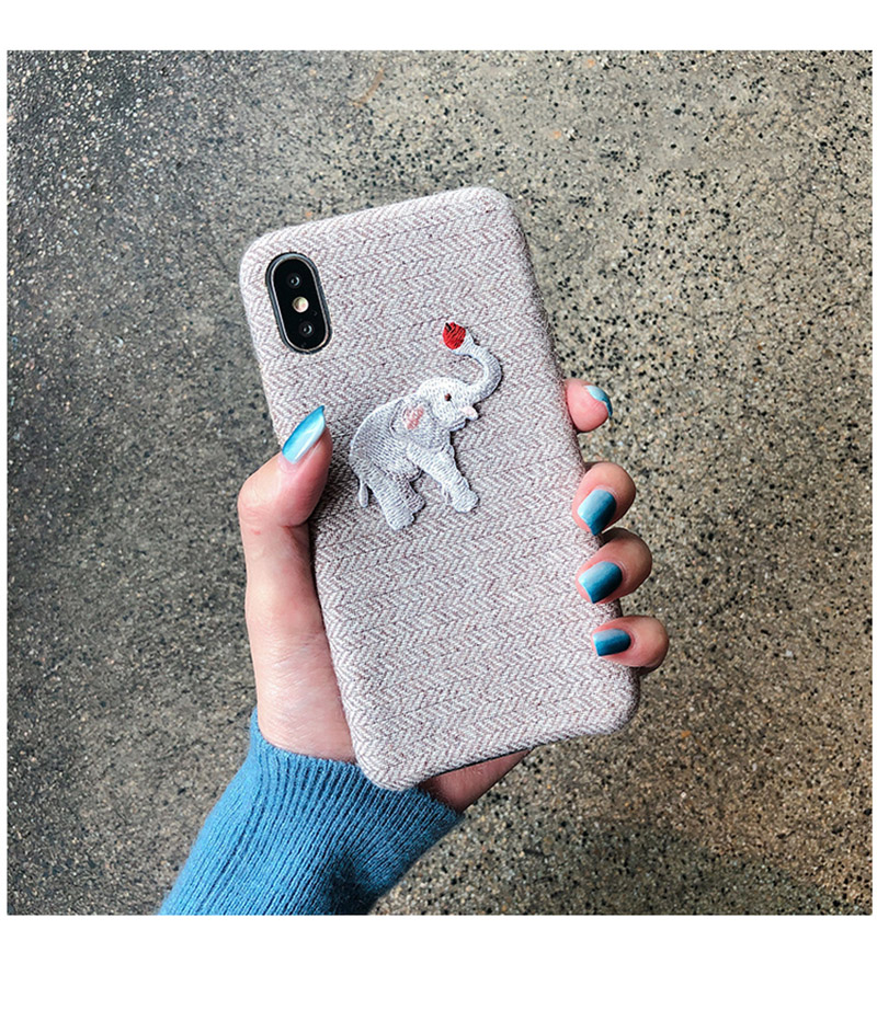 Cute Embroidered Elephant Phone Case For iPhone - Photo 7