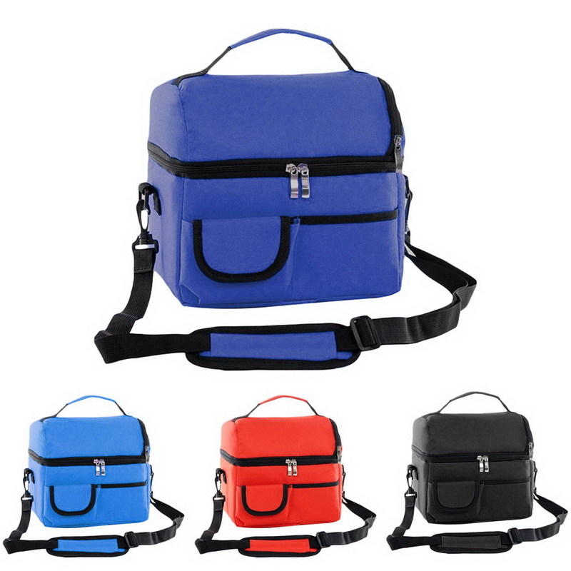 Adisputent Multifunction Picnic Clooer Box Double Deck Lunch Tote Thermal Insulation Bag Waterproof Food Fresh Keeping Lunch Bag