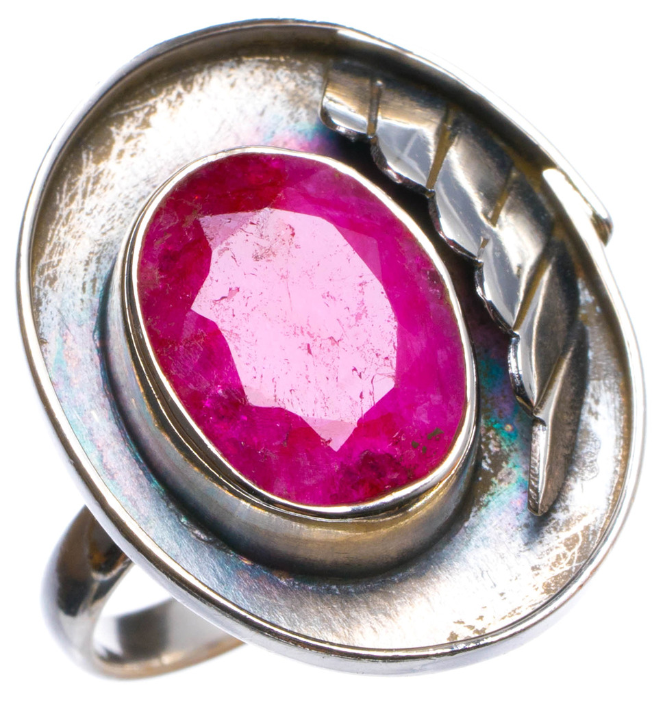 Natural Cherry Ruby Handmade Unique 925 Sterling Silver Ring, US size 7.5 X2404 цена