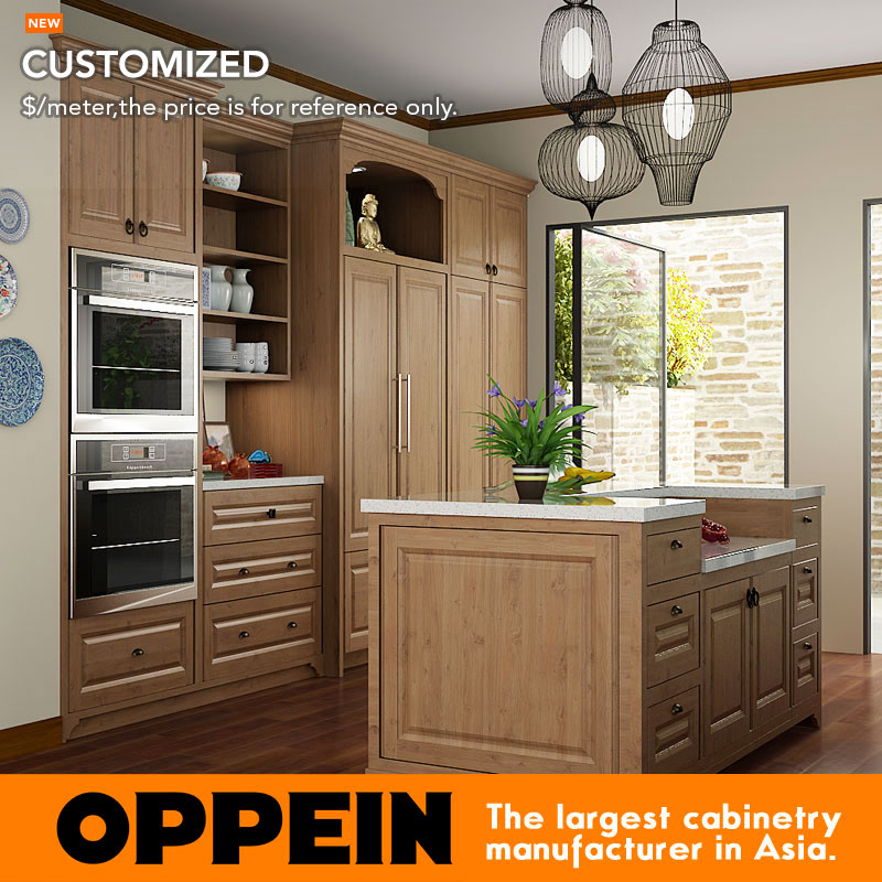 Indonesia Project Modern Wooden Kitchen Cabinets Customized Modular Kitchen Cabinets OP15-PP07