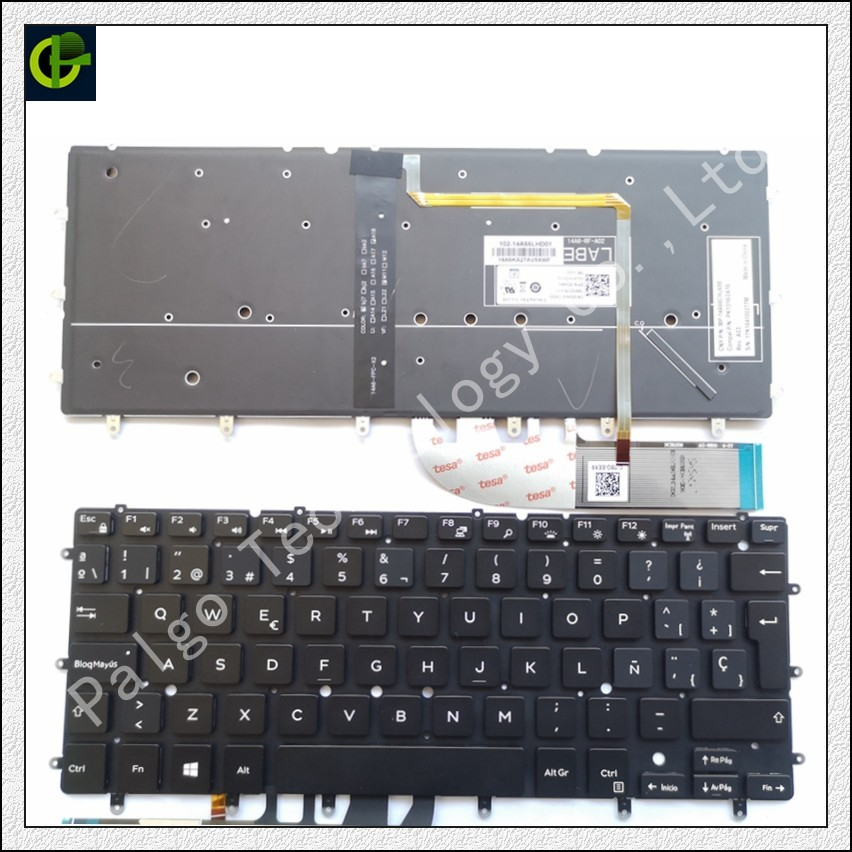 Dell XPS 13 용 스페인어 백라이트 키보드 9343 xps13 9350 9360 N7547 N7548 7547 7548 17-3000 for Inspiron13 7347 7348 SP 라틴어 LA