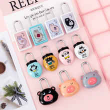 Suitcase combination lock padlock cabinet lock cute small mini student schoolbag pencil case diary combination lock small mini lock solid plastic case copper padlock travel tiny suitcase and lock with 2 keys have 8 colors home accessories