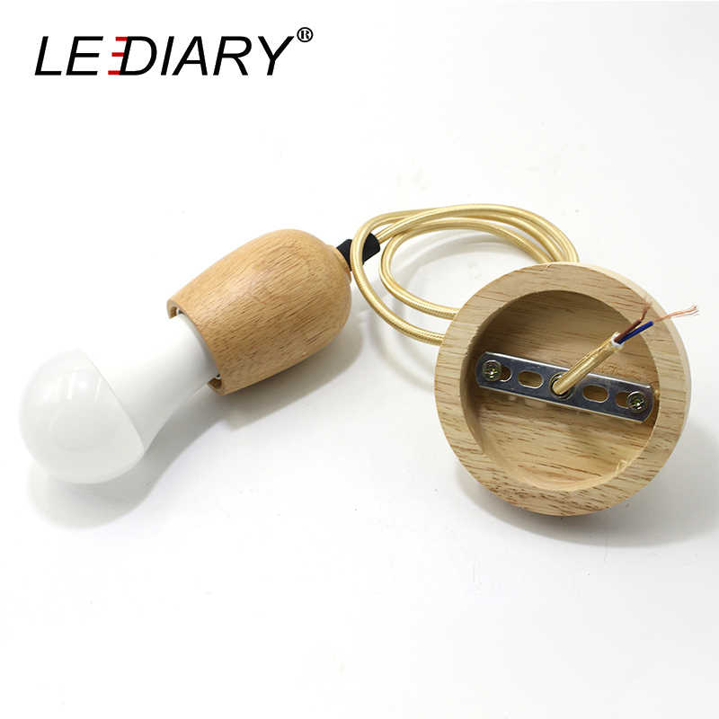 LEDIARY Wooden Hanging Lamp E27 Socket Lamp holder 110V-220V Pendant Lights Country Style Dining Room Droplights Light Fixture