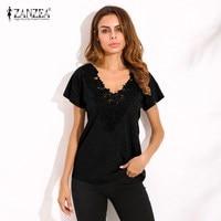 ZANZEA 2018 Summer Spring Womens Casual Loose Short Sleeve Deep V Neck Black Lace Flower Shirt