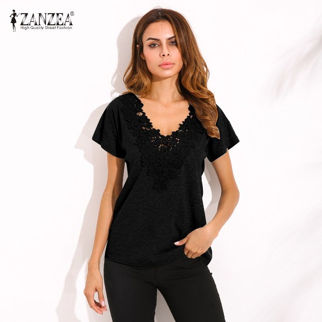 1c6b1fce80d ZANZEA 2018 Summer Spring Womens Casual Loose Short Sleeve Deep V-neck  Black Lace Flower Shirt Tops Blouse Plus Size 5XL Bluse