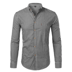 Image 5 - Męskie kratki bawełniane Casual Slim Fit z długim rękawem w całości zapinana na guziki ubranie koszule 2018 moda męska praca marka biznesowa koszula koszulka Homme