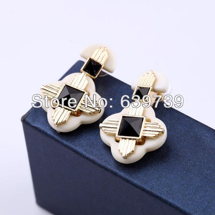 Gossip Girl Shiny Zinc Alloy Orange Resin Flower Earrings