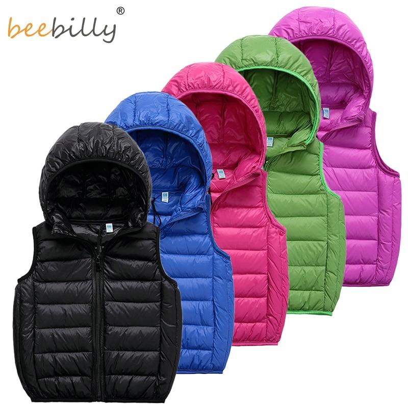 ביביילי 2-12 ילדים אפוד תינוקת בנות 90% ברווז למטה אפודים ילדים חמים מעילים מעילים בנים חורף אפוד בגדי ילדים