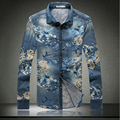 2017 New Arrival Brand British Men Denim Shirt Casual Long Sleeve Flower Shirts Dress Mens Jeans Shirts for Men Plus Size M-5XL