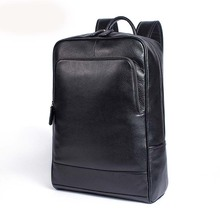 AETOO  Casual business leather backpack large capacity men computer student school bag