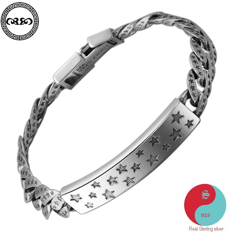 Véritable pur S925 en argent sterling chanceux mâle bracelet en argent chaîne cubaine inspirant bracelet bracelet prière bijoux fins femmes
