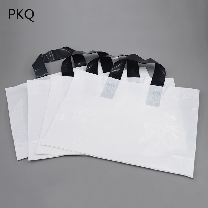 50pcs Blank white plastic bag with black handle