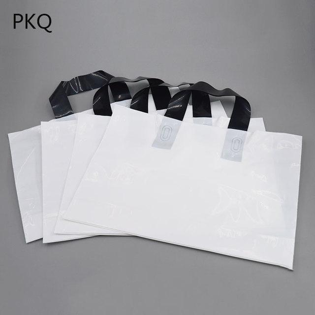 50pcs Blank White Plastic Bag With Black Handle Multifunctional