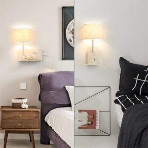 Image 5 - Creative Usb טעינת נמל מדף בד led מנורת קיר מודרני חדר שינה מנורה שליד המיטה בית דקו מחקר קריאת led פמוטים קיר אור