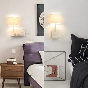 Image 5 - Kreatywny port ładowania usb półka tkaniny led kinkiet nowoczesny lampka nocna do sypialni w stylu art deco badanie lampka do czytania led kinkiety