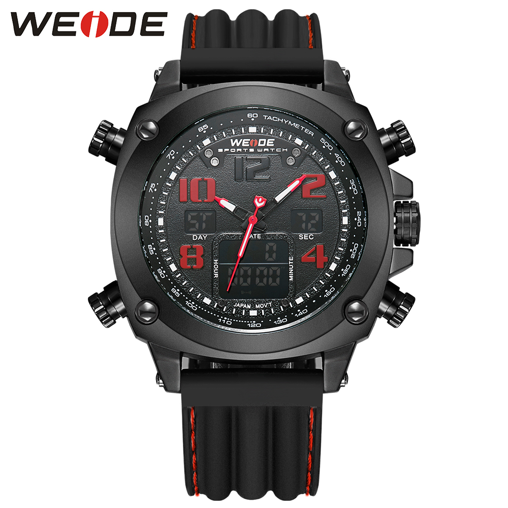 WEIDE Brand Analog Digital LCD Display Date Day Alarm Stopwatch Black Red Dual Movement Rubber Band Men Sport Quartz Wrist Watch brand new ohsen rectangle dial digital dual time lcd mens date alarm stopwatch analog quartz sport leather wrist watch ohs034
