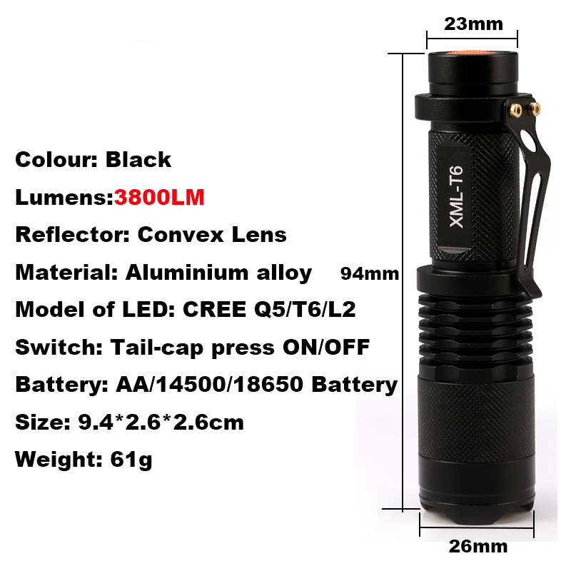 CREE XM-L2 T6 3800 Lumens High Power Torch Zoomable LED Flashlight Torch Light Camp 5-mode Tactical Flashlight new 2016 practical 3000 lumens high power led torch cree t6 led flashlight zoomable torch light camp 5 modes tactical flashlight
