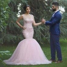 Mode Prom kleid 2016 Sexy Scoop Neck Appliques Spitze Ausgestattet Mermaid Rosa Tüll Arabischen Abendkleider Lange Abendkleid