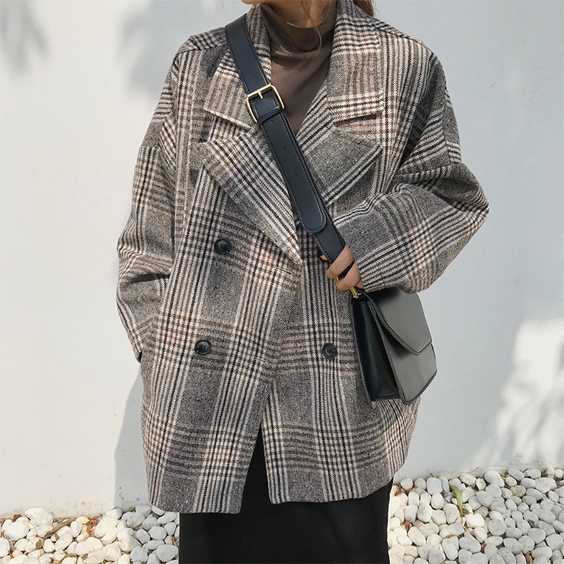 2019 Early Spring Large Size Suit Plaid Coat Women's Loose Thin Double-breasted Plaid Suit Fashion Casual Coat Female Z29