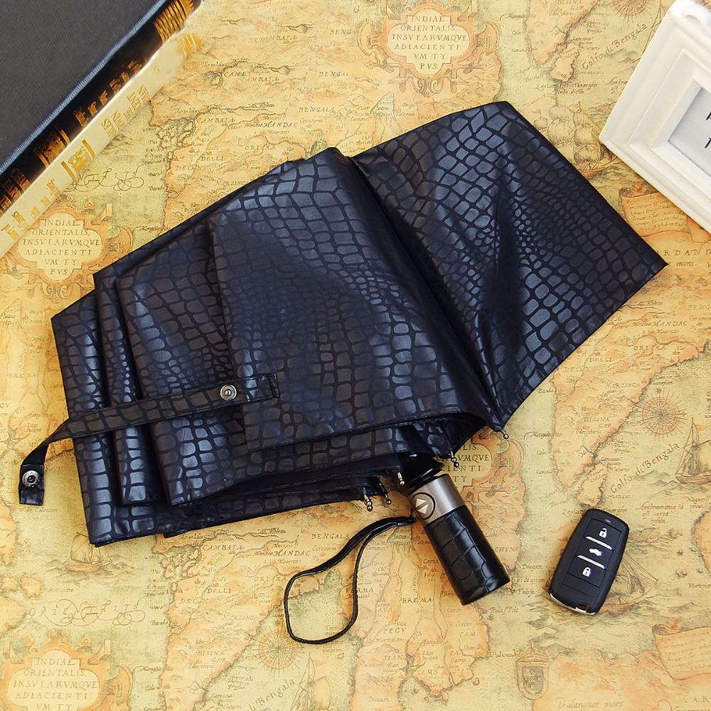 Imitation Crocodile Skin Umbrella Men Rain Women Three Folding Windproof Fully Automatic Gentle High Quality Umbrellas