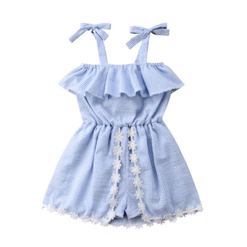 Light Blue Stripe Kids Baby Girls Lace Flower   Romper   Dress Strap Off Shoulder One Piece Ruffles   Rompers   Jumpsuit Outfits Summer