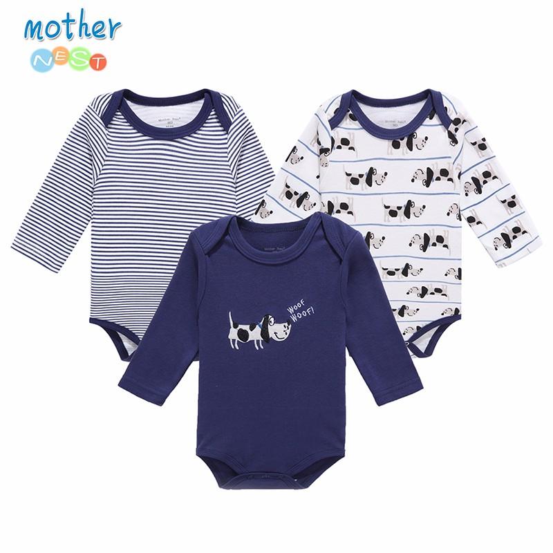 Mother Nest 3 PcsLot Baby Romper Infant Romper Long Sleeve Jumpsuit Romper 12 Colors Brand Baby Girl Boy Clothing Christmas