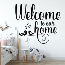 Large Welcome to our Home Bird Music Note Wall Decal Living Room Sofa Hello Family Quote Sticker Entry Way Vinyl