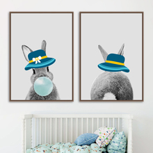 Rabbit Blowing Bubble Gum Hat Nordic Posters And Prints Wall Art Canvas Painting Pictures For Kids Room Decor
