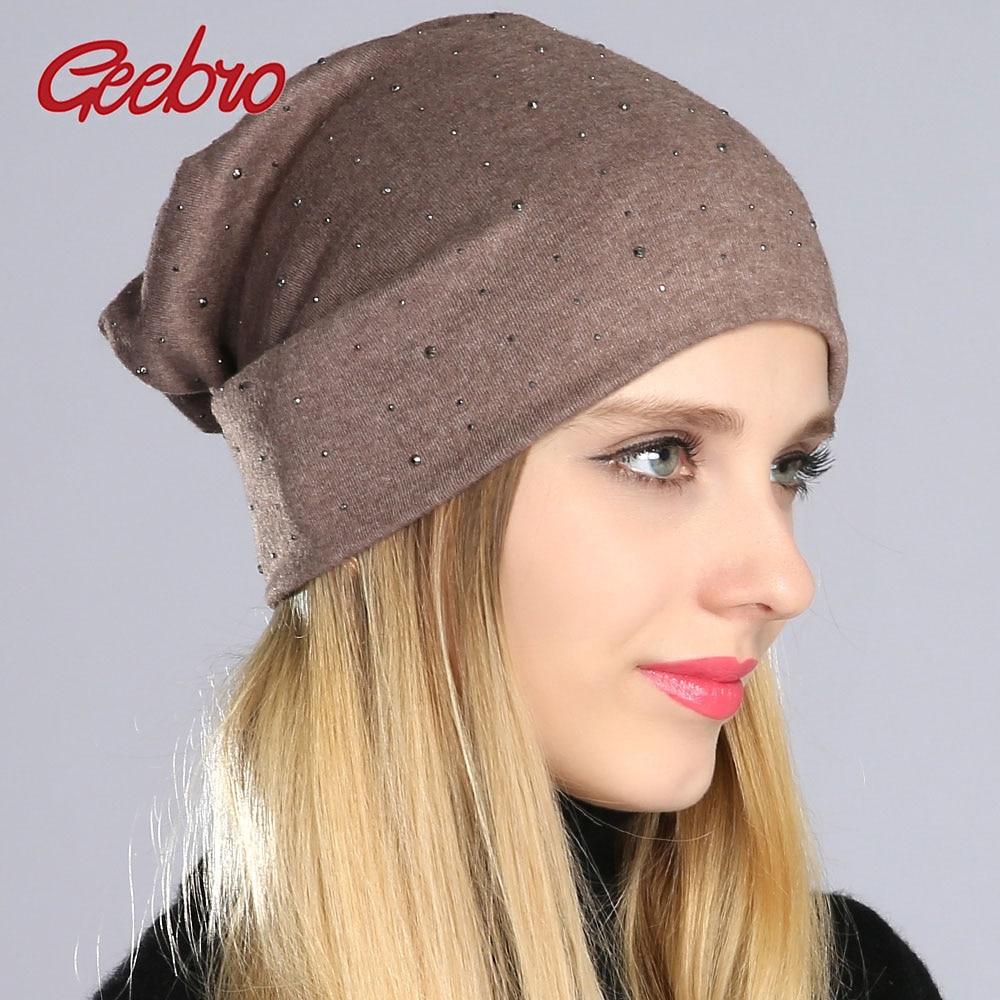 Geebro Women's Beanie Hat Autumn Casual Rhinestone Cotton Plain Slouchy Beanie Hat For Women Female Balavaca Skullies&Beanies