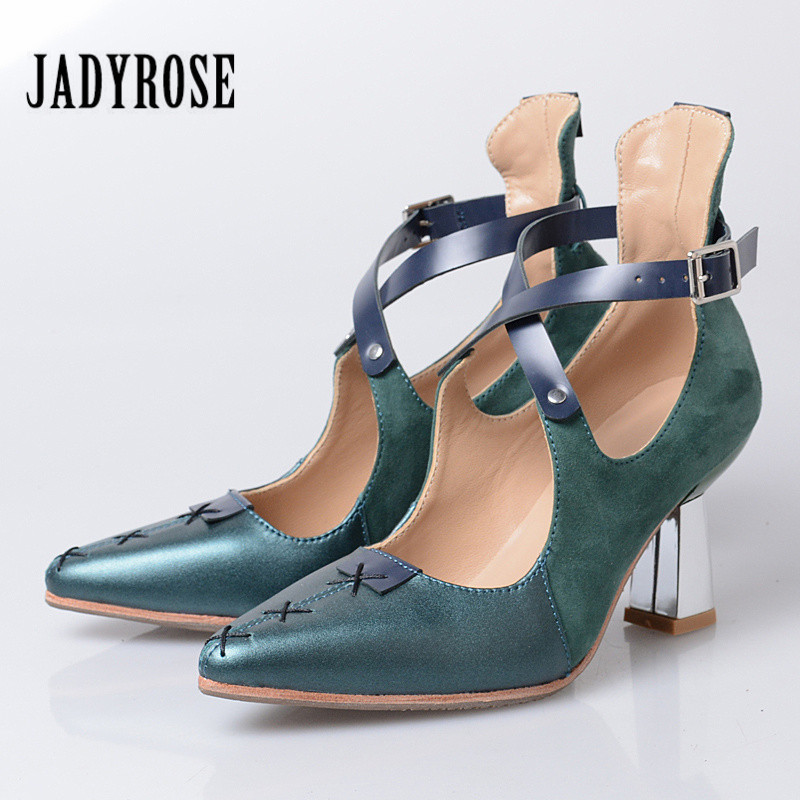 Jady Rose Pointed Toe Women Pumps Cross Strap High Heels Green Handmade Stiletto Sexy Valentine Shoes Gladiator Sandals pumps gladiator suede shoes cross strap black sandals pointed toe size 33 stiletto women extreme super high heels ankle brand