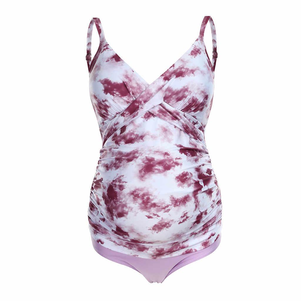 النساء الأمومة طباعة بيكيني مثير سيدة الخامس الرقبة ملابس السباحة واحدة قطعة ملابس السباحة الاستحمام دعوى الحوامل بحر كبير المايوه