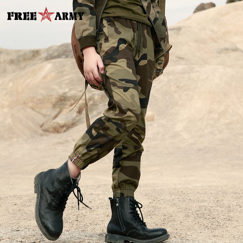 Summer Pants Boys Clothes Elastic Waist Joggers Teenager's Clothing Military Safari Style Kids Trousers Children Boot Cut Pants