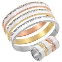 Ceramic Jewelry Set Stainless Steel Wedding Trendy Bridal 18k Rose Gold Crystal Rhinestone Female Bangle Ring