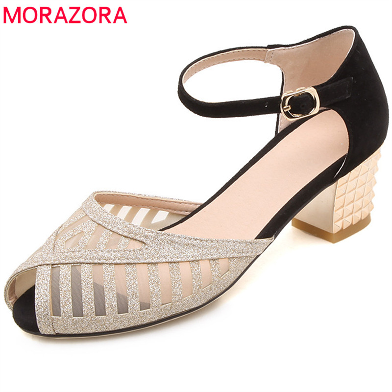 MORAZORA 2018 new style women sandals suede leather peep toe summer shoes mixed colors elegant party wedding shoes square heels morazora 2018 new style women pumps simple shallow summer shoes elegant peep toe pink party wedding shoes 12cm high heel shoes