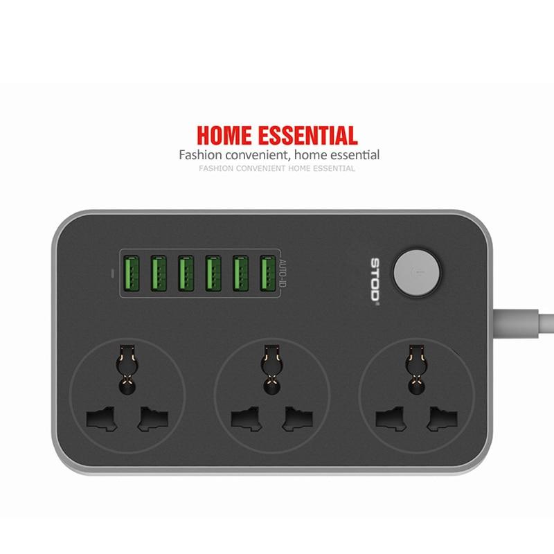 STOD Multi Port Home Charger 6 USB 17W 3 AC-kontaktuttag 2500Watt - Reservdelar och tillbehör för mobiltelefoner - Foto 5