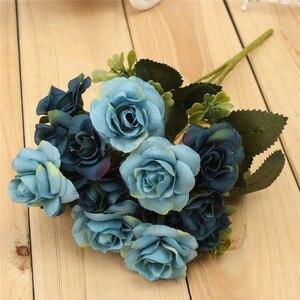 Image 2 - שימושי כחול יפה שיק אוסטין 15 ראשי משי פרחים מלאכותי עלה חתונה כלה המפלגה דקור